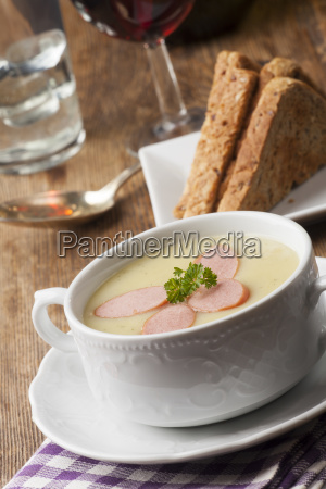 potato soup with viennese slices