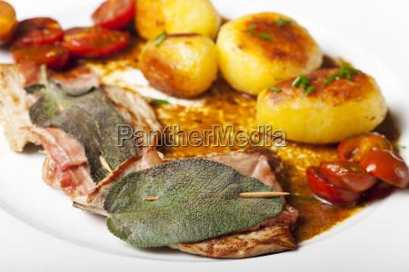 saltimbocca ala romana veal schnitzel with