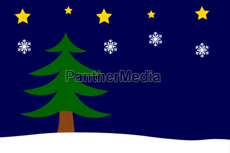 christmas background with fir tree stars