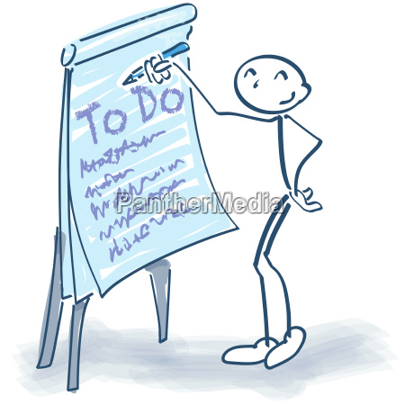 stick figure with flipchart and todo