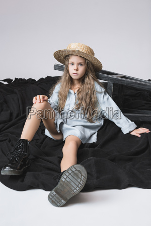 stylish young teen girl over gray