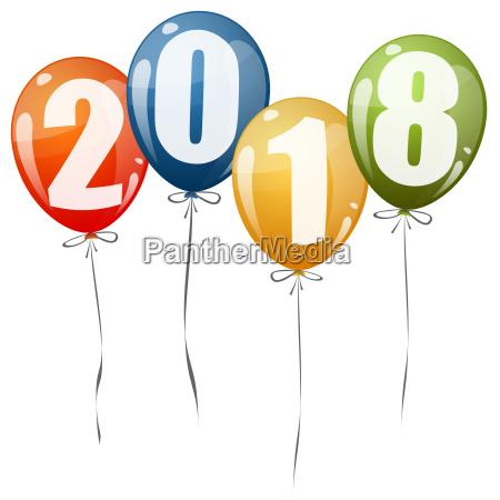 new year 2018 balloons