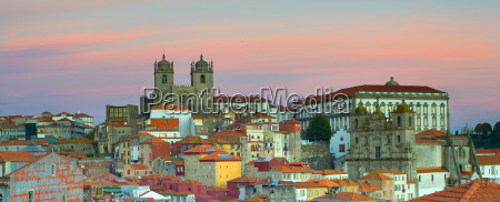 panorama porto at twilight portugal