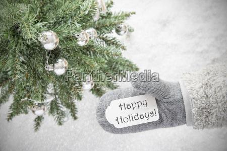 christmas tree glove text happy holidays