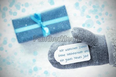 turquoise gift glove gutes neues jahr