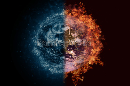 planet earth in water and fire