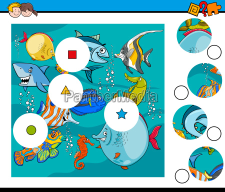 match pieces puzzle with fish animals