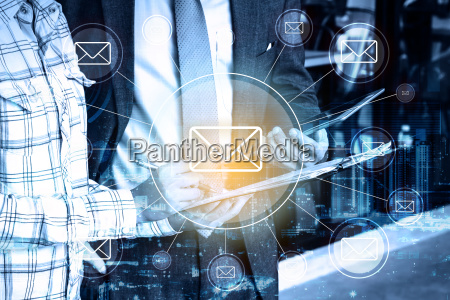 double exposure professional businessman and global