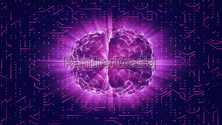purple glowing brain wired on neural