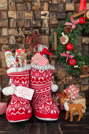small boots with gifts