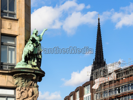 outdoor sculpture and steeple church in