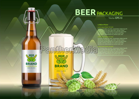 vector realistic beer bottle and glass