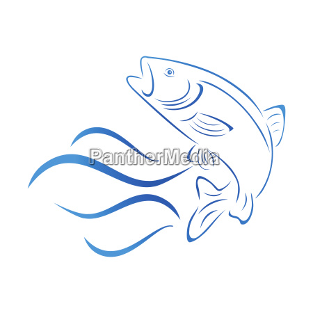 trout and waves fish logo fishing