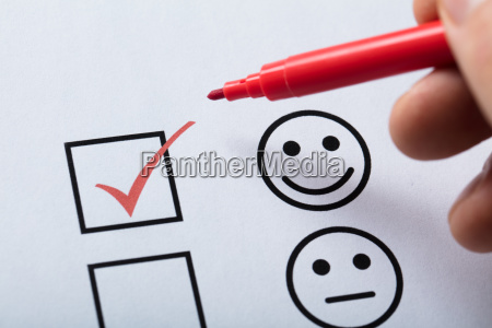 tick placed in customer service satisfaction