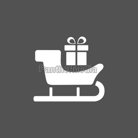 sled icon with gift on black