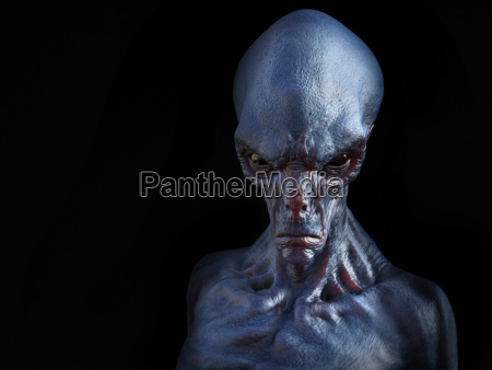 3d rendering of an angry alien