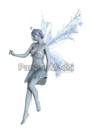 3d rendering winter fairy on white