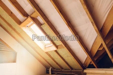 house attic under construction mansard wall