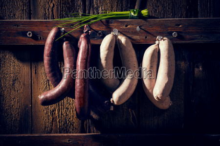 liver sausage blood sausage spring onions