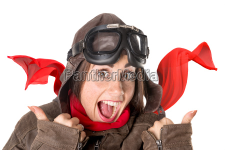 funny, girl, in, aviator, gear - 23439479