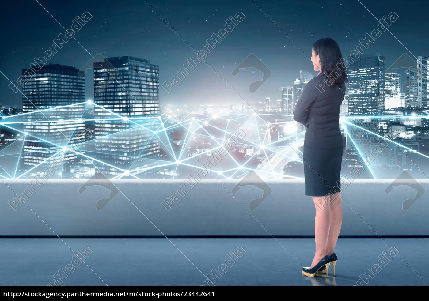 beautiful, asian, business, woman, looking, at - 23442641