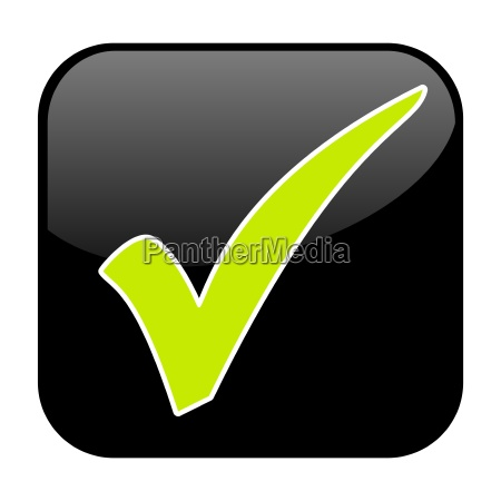 green check mark on black button