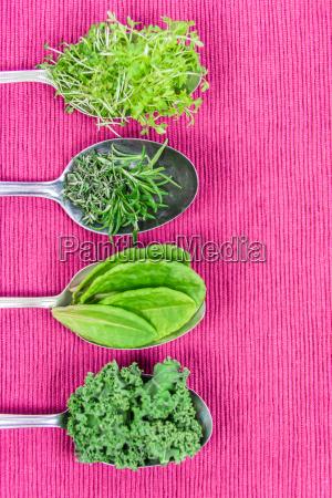 vitamins various herbs on spoons