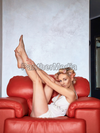 bright blonde at home on bed