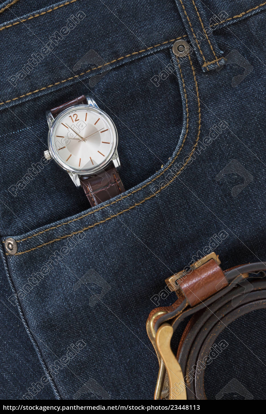 wrist, watch, and, leather, belt, on - 23448113