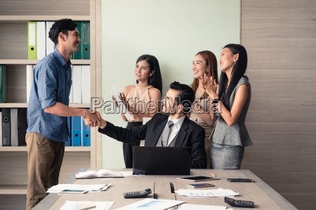 business, people, clapping, in, office, after - 23449619