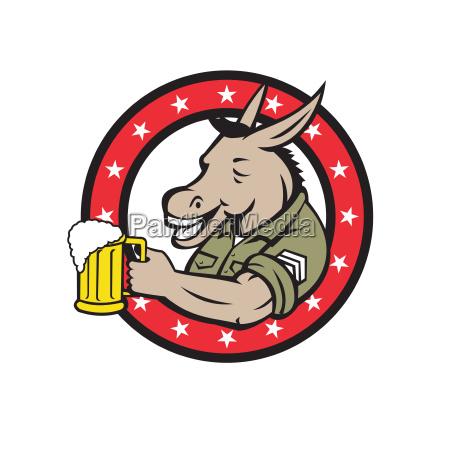 donkey beer drinker circle retro