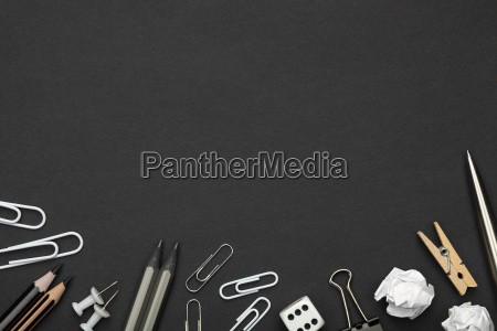 office, accessories, on, black, paper, background - 23452749