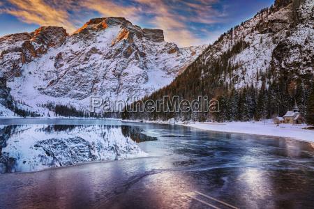 winter sunrise over lago di braies