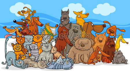 cartoon, dog, and, cats, characters, group - 23453995