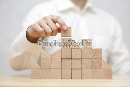man's, hand, stacking, wooden, blocks., business - 23453759