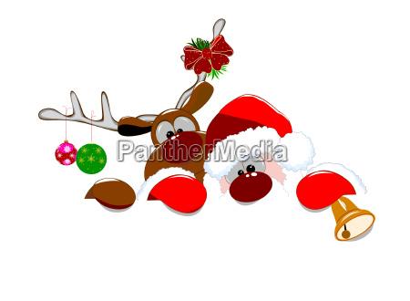 santa, claus, and, deer, 2, - 23453433