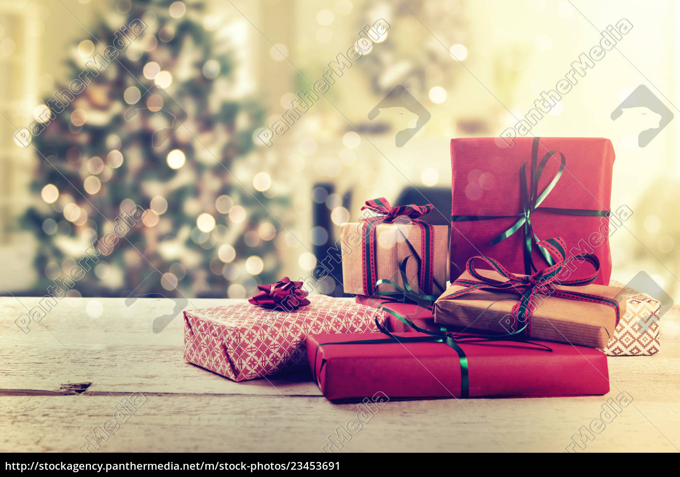 wrapped, gifts, on, christmas, tree, backgound - 23453691