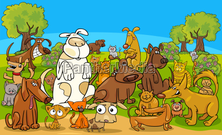 cartoon dog and cats comic characters