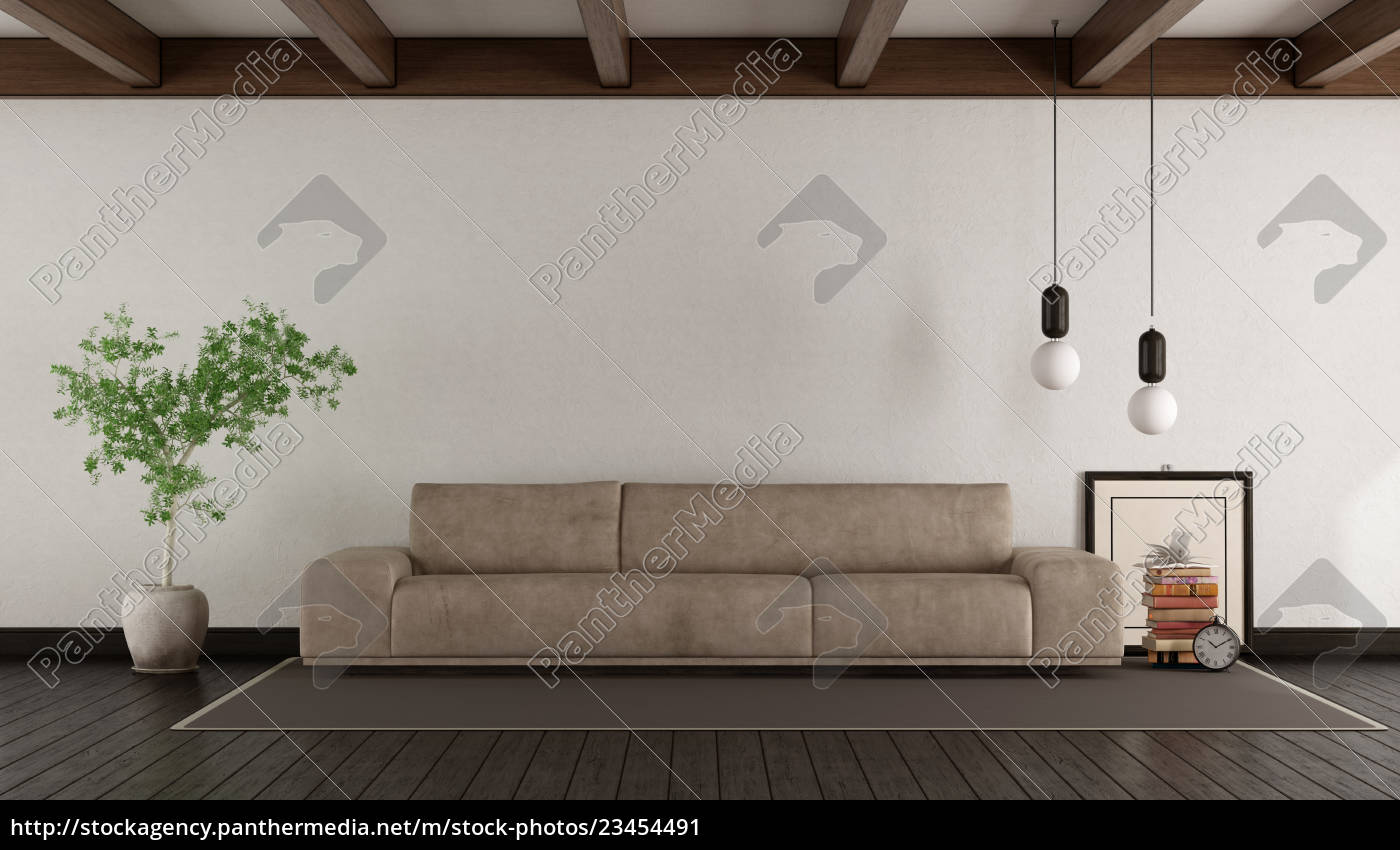 living, room, with, leather, sofa - 23454491