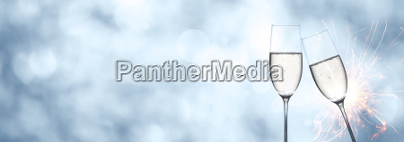 abstract winter background with champagne and