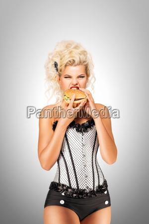 eating, burger. - 23459405