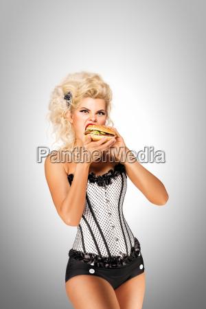 eating, burger. - 23459417