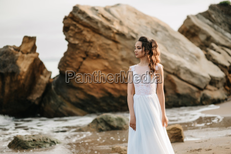 bride on the shore of the