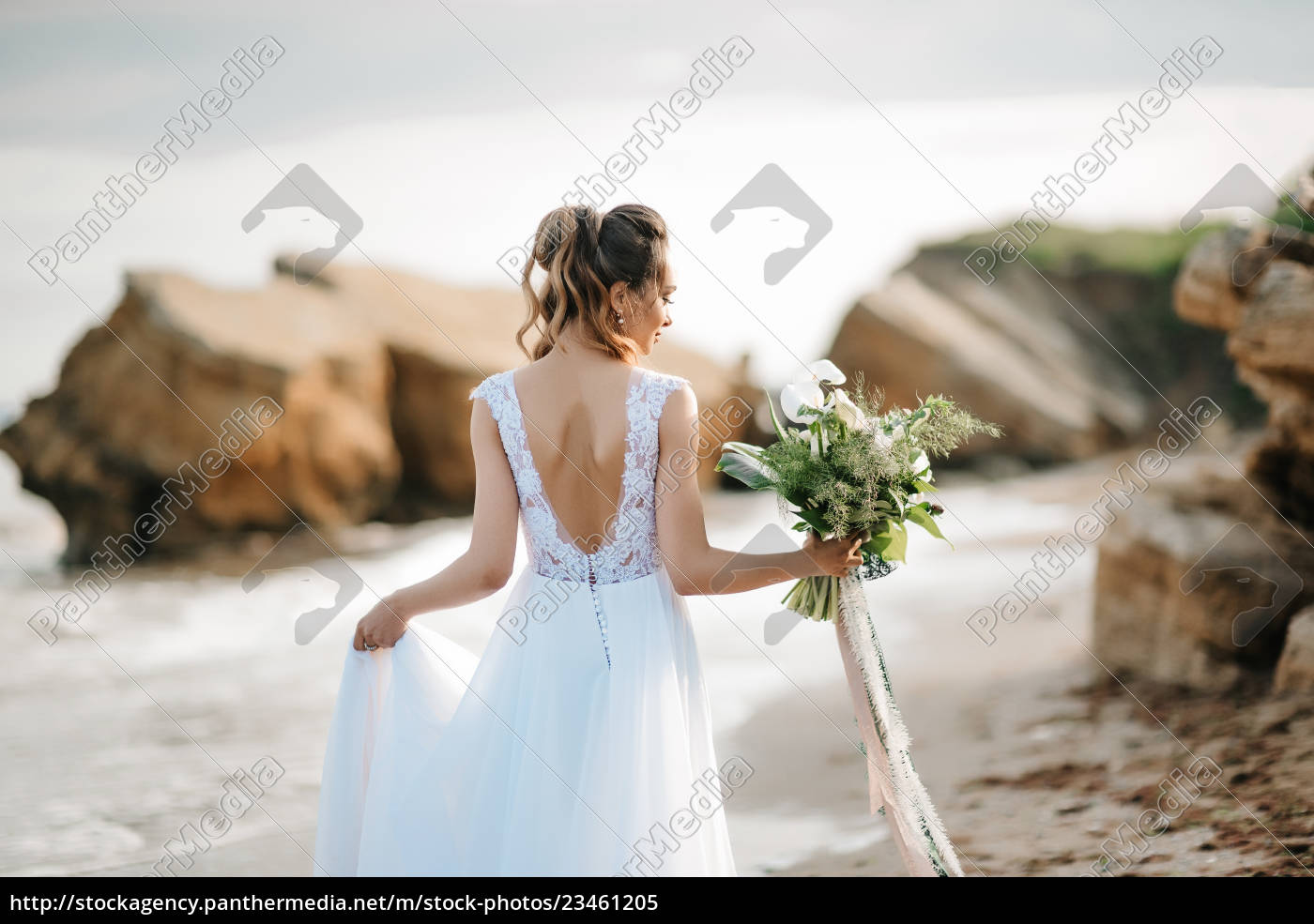 bride, with, a, wedding, bouquet, on - 23461205