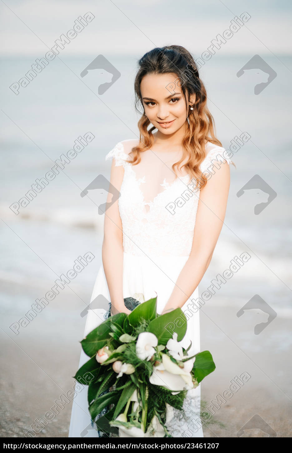 bride, with, a, wedding, bouquet, on - 23461207