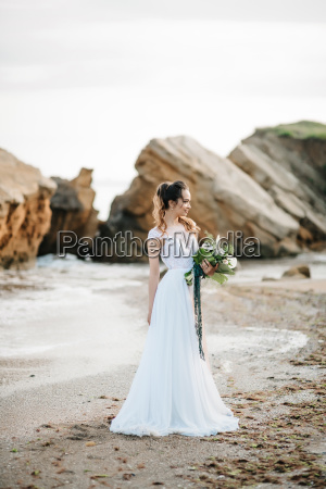 bride, with, a, wedding, bouquet, on - 23461211