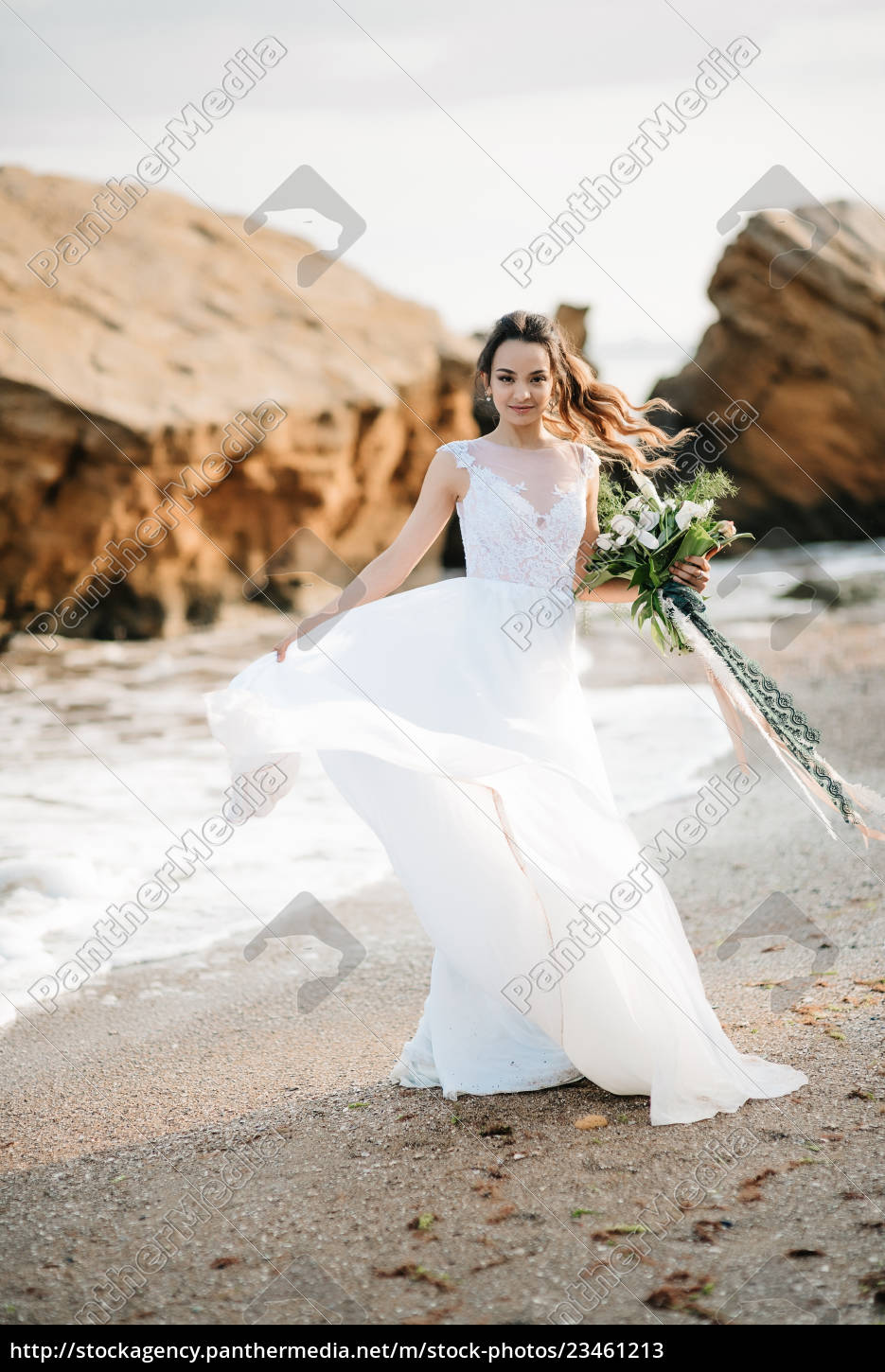 bride, with, a, wedding, bouquet, on - 23461213