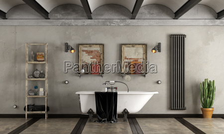 bathroom, in, industrial, style, with, bathtub - 23462353