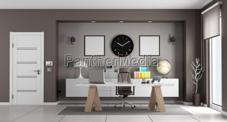 white, and, brown, modern, office - 23462367