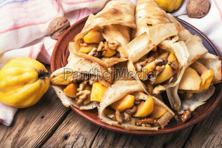 appetizing fruit pancakes